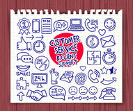 Doodle Customer Service icons Stock Images