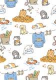 Doodle cute little cat vector seamless pattern. Doodle cute cat vector seamless pattern vector illustration