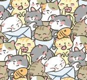 Doodle cute little cat vector seamless pattern stock illustration