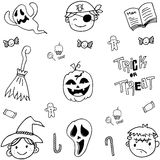 Doodle of cute face halloween Stock Photos