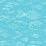Doodle cute fish seamless pattern for baby design. Stock Photos