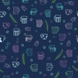 Doodle Cute Hand Drawn Seamless Background with Ornamental Teacups. Fir Tree Branches, Stars and Little Hearts. Seamless Texture for Textile Design, Wrapping Royalty Free Stock Image