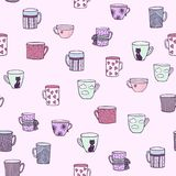 Doodle Cute Hand Drawn Seamless Background with Ornamental Teacups. Doodle Cute Hand Drawn Seamless Background with Ornamental Teacups, Fir Tree Branches, Stars Royalty Free Stock Photography