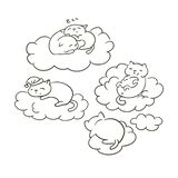 Doodle cute little cat vector sletch coloring book dreams clouds sleep royalty free illustration