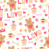 Doodle cute pattern with bear, toy, flowers, hearts, letter, cup, key and padlock. Happy St. Valentine`s Day. Stock Photo