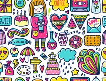 Doodle cute Pattern Stock Images