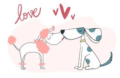 Doodle cute two dog kissing with love and heart royalty free illustration