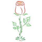 Doodle czerwieni wektorowa abstrakcjonistyczna róża Fotografia Royalty Free