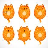 Doodle czerwoni koty ustawiający royalty ilustracja