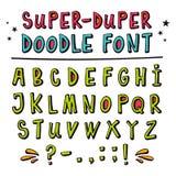 Шрифт вектора Doodle с смешным влиянием 3d Стоковое Изображение