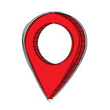 Doodle of 3D Map Pointer Icon.EPS8. Illustration of Cute Cartoon Doodle of 3D Map Pointer Icon. EPS8 Stock Images