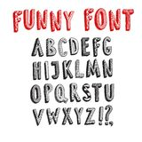 Doodle 3D vector childish font. Doodle  vector funny ABC letters.Hand drawn font for your design Royalty Free Stock Photos
