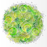 Doodle 3D White Paper Pattern. With Circle Shape. Abstract Doodle Form of Flowers and Waves. Vector Illustration. Circle Template Design, Paper-cut Greeting royalty free illustration