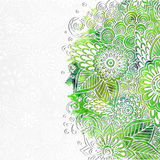 Doodle 3D White Paper Pattern With Circle Shape. Abstract Doodle Form of Flowers and Waves. Vector Illustration. Circle Template Design, Paper-cut Greeting royalty free illustration