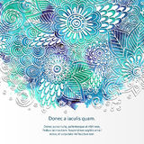 Doodle 3D White Paper Pattern With Circle Shape. Abstract Doodle Form of Flowers and Waves. Vector Illustration. Circle Template Design, Paper-cut Greeting vector illustration