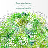 Doodle 3D White Paper Pattern With Circle Shape. Abstract Doodle Form of Flowers and Waves. Vector Illustration. Circle Template Design, Paper-cut Greeting stock illustration