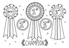 Doodle da concessão do campeão ilustração royalty free