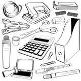 Doodle da ferramenta dos artigos de papelaria do escritório Fotografia de Stock Royalty Free