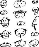 Doodle das faces Imagem de Stock Royalty Free