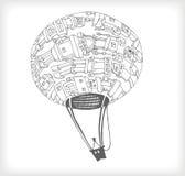 Doodle de Baloon do espaço ilustração stock