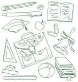 Doodle de la escuela del esquema Fotos de archivo
