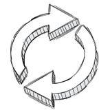 Doodle de una muestra de la flecha de la restauración foto de archivo libre de regalías