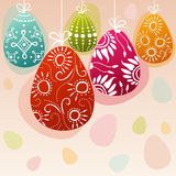Doodle decorated easter eggs hanging Stock Photography