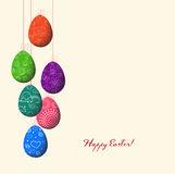 Doodle decorative colorful eggs line for Easter Stock Image
