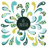 Doodle decorative ornament design. Be creative. Inspirational poster template. Vector Royalty Free Stock Image