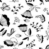Doodle decorative seamless background with flowers, bugs  Stock Photos