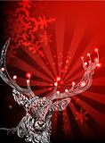 Doodle Deer. Vector Illustration. Greeting Card for Christmas Stock Photo