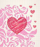Doodle del amor Fotos de archivo