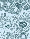 Doodle del amor Imagenes de archivo