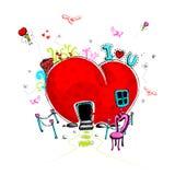 Doodle del amor Fotografía de archivo