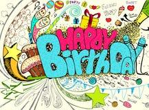 Doodle del cumpleaños stock de ilustración