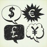 Doodle del dinero en circulación Fotos de archivo libres de regalías