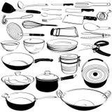 Doodle del equipo del utensilio de la herramienta de la cocina Foto de archivo