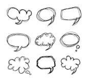 Doodle del fumetto delle bolle di discorso dell'illustrazione della mano Fotografia Stock Libera da Diritti
