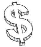 Doodle del segno dei soldi Fotografia Stock