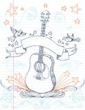 Doodle della chitarra Fotografia Stock