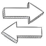 Doodle della freccia che indica a destra e a sinistra Fotografia Stock Libera da Diritti