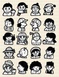 Doodle della gente del fumetto Fotografia Stock Libera da Diritti