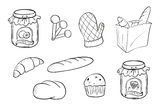 Doodle design of bread and jam Royalty Free Stock Photography