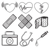 Doodle design of the different medical tools Royalty Free Stock Image