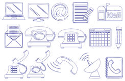 Doodle design of the different tools for communication Royalty Free Stock Images