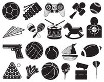 Doodle design of the different toys. Illustration of the doodle design of the different toys on a white background Royalty Free Stock Photography