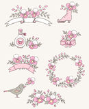 Doodle design elements with orchids Stock Images