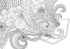 Doodle design of fun line art flowing out of laptop for adult coloring book pages for anti stress - Stock  Royalty Free Stock Photo