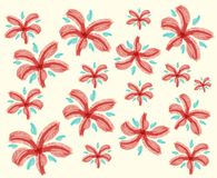 Doodle design for red flowers Royalty Free Stock Photos