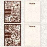 Doodle design for restaurant, cafe menu. Set of brochures Stock Photo